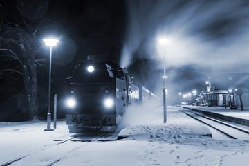 Steam locomotive ready to go in snow storm, Germany