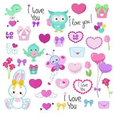 Collection of cute graphic elements for Valentine's Day, weddings, congratulations, declarations of love.
