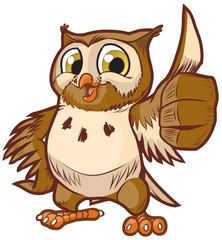 Cute Vector Cartoon Owl Mascot Giving Thumbs Up