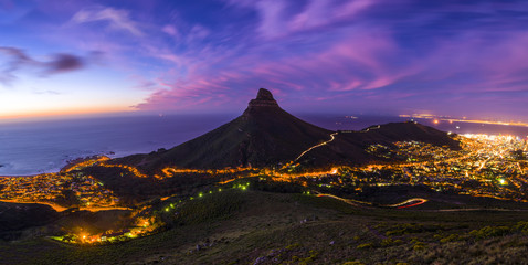 Cape Town's Lion's Head Mountain Peak landscape seen from Table Mountain tourist hike Wall mural