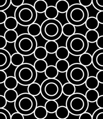 Vector modern seamless sacred geometry pattern circles, black and white abstract geometric background, pillow print, monochrome retro texture, hipster fashion design