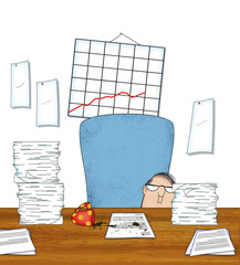 Stressed Office Worker With Piles of Paperwork