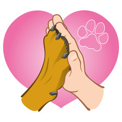 Illustration human hand holding a paw, heart, caucasian