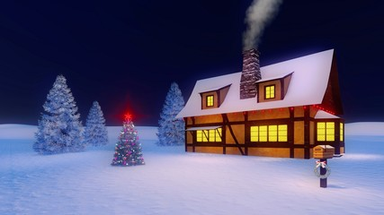 Wall Mural - Rustic house with smoking chimney and illuminated christmas tree against dark night sky background. Mailbox decorated with christmas garland on foreground.