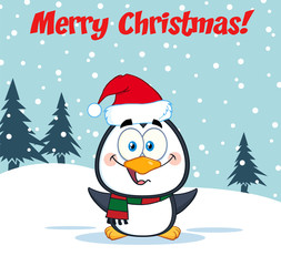 Merry Christmas Greeting With Cute Penguin Cartoon Character