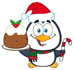 Cute Penguin Character Holding Christmas Pudding And Candy Cane