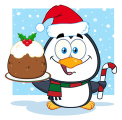Cute Penguin Cartoon Character Holding Christmas Pudding
