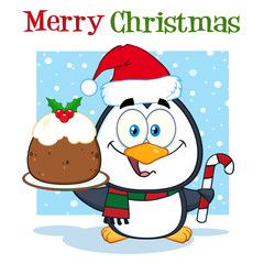 Penguin Character Holding Christmas Pudding And Candy Cane On The Snow