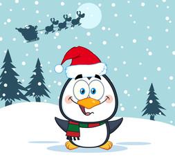 Cute Penguin Cartoon Character. Illustration Santa In Flight