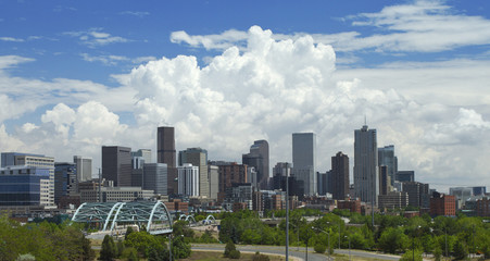 Cumulus clouds over Downtown Denver.