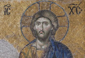 Mosaic portrait of Jesus Christ at the Hagia Sophia in Istanbul, Turkey