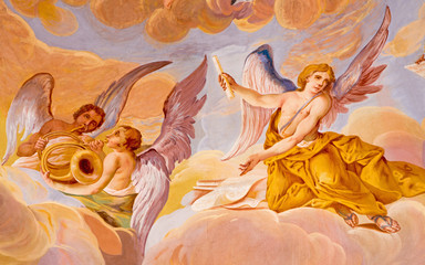 Banska Stiavnica - Angels with the music instruments on baroque cupola