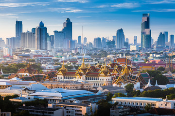 Poster de jardin Bangkok Sunrise with Grand Palace of Bangkok, Thailand