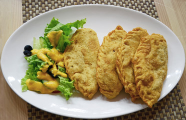 Khuushuur - small size cheburek filled with chopped meat. Mongolian cuisine
