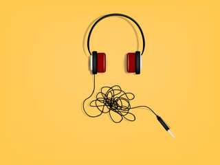 beautiful graphic design of headphone has the problem of tangled wires
