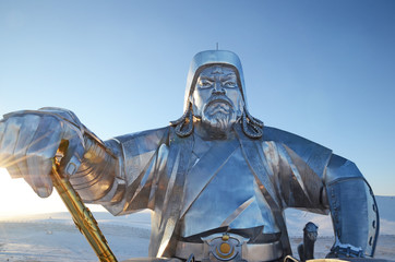 Genghis Khan with Legendary golden whip.  Statue Complex, Mongolia