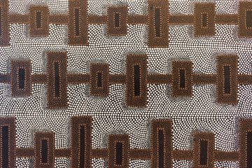 Block and dot pattern art painting - aboriginal art