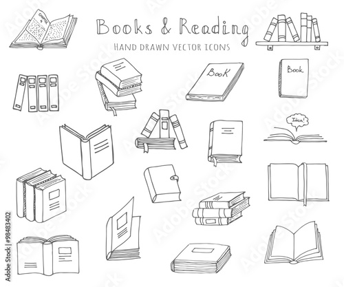 hand drawn doodle books and reading set vector illustration sketchy