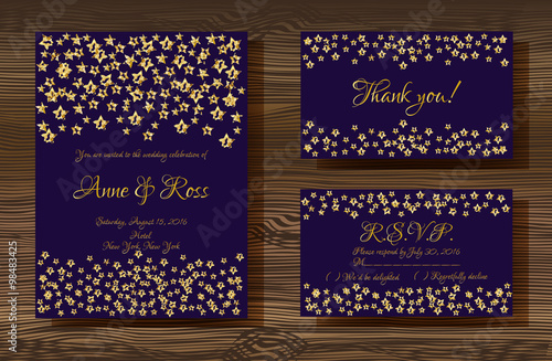 Unique Vector Wedding Cards Template With Gold Glitter Texture