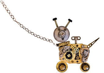 Metal robot dog on a metal chain. Isolated on white background