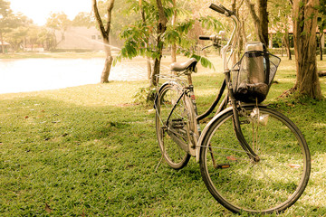 Yellow vintage tone a bicycle in the garden