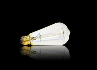 clear edison light bulb, horizontal isolated on black background with reflection