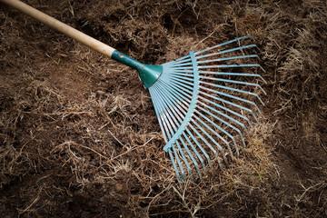 yard work, preparation soil in garden with rake shoveling