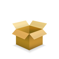 Open empty cardboard box. Object isolated on white backgrund. Vector illustration.