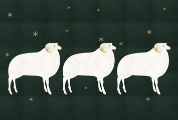 緑の背景 3頭の白い羊