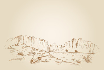 Hand drawn of two cowboys racing in desert Wall mural