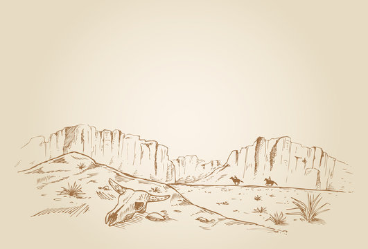 Hand drawn of two cowboys racing in desert