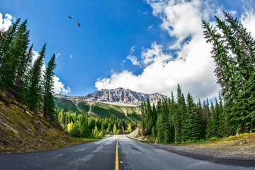 The picturesque road in Yoho National Park