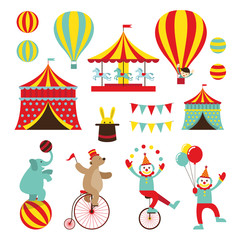 Circus Objects Flat Icons Set, Amusement Park, Theme Park, Carnival, Fun Fair