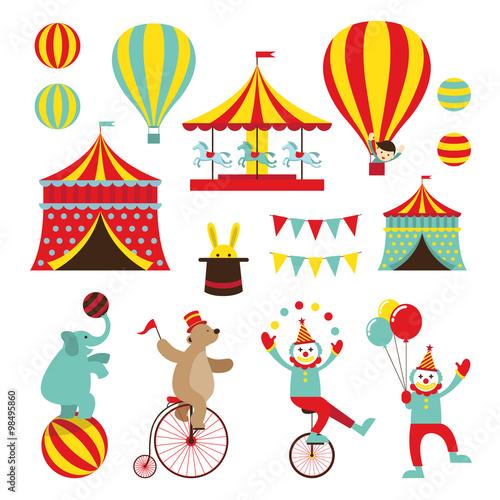 Circus Objects Flat Icons Set Amusement Park Theme Park Carnival
