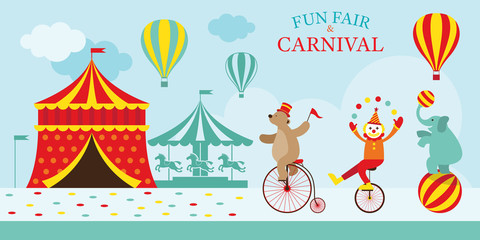Circus Tent with Clown Show, Amusement Park, Carnival, Fun Fair, Theme Park, Day Scene
