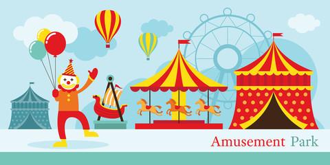 Amusement Park, Circus, Clown, Carnival, Fun Fair, Theme Park, Day Scene
