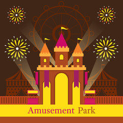 Castle, Amusement Park, Carnival, Fun Fair, Theme Park, Circus, Night Scene