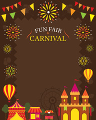 Amusement Park with Decoration Frame, Carnival, Fun Fair, Theme Park, Circus, Night Scene