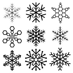 Set of nine snowflakes on a white background