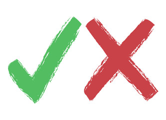 Tick and cross icons, yes no symbols green an red, design element