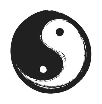 hand drawn ying yang symbol of harmony and balance, design element