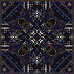 Colorful paisley pattern. Ornamental background