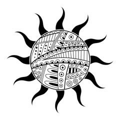 Abstract black white sun pattern illustration vector