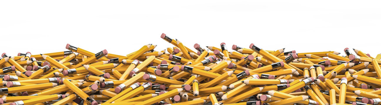 Pencil pile / 3D render of hundreds of yellow pencils