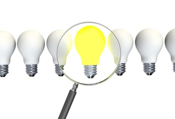Inspiration concept illuminated light bulb metaphor for good idea