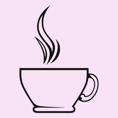 Silhouette of cup of tea or coffee, hand drawn, vector illustration