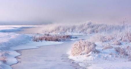Garden Poster Scandinavia Misty winter landscape. Winter river begins freeze