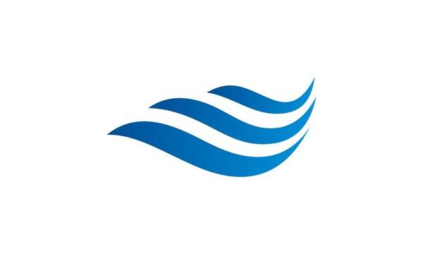 three wave line water vector logo