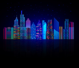 Colorful city panorama, cityscape vector background