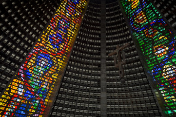 Stained glass interior of the Metropolitan Cathedral of Saint Sebastian, a modernist landmark designed after a Mayan pyramid, in Rio de Janeiro, Brazil
